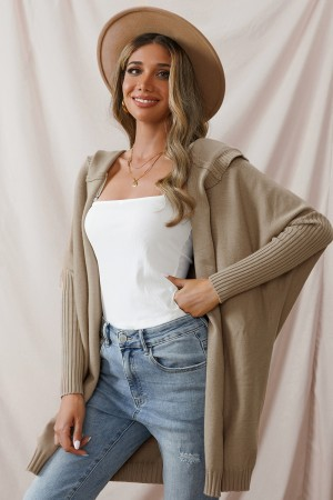 Long Sleeve Casual Loose Knit Solid Winter Autumn Cardigan