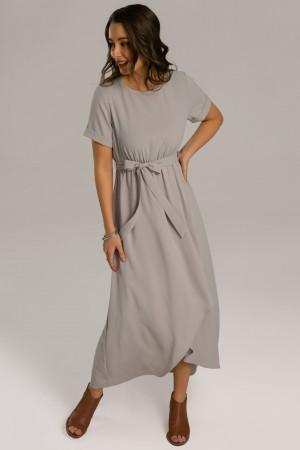 Short Sleeve Round Neck Elastic Waist Wrap Maxi Dress