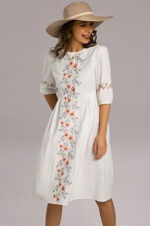3/4 Length Sleeve Round Neck Cotton Embroidered Midi Dress
