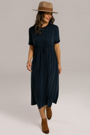Blue Rolled Short Sleeve Round Neck Elastic Waist Midi Dress With Pockets