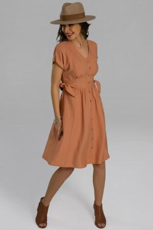 Short Sleeve Vneck Tie Waist Polyester Midi Dress