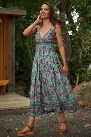 Floral V-neck Sleeveless Cotton Spring Summer Maxi Dress