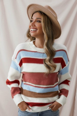Multicolor Striped Loose Casual Round Neck Knitted Sweater