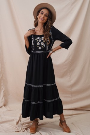 Black Floral 3/4 Length Sleeves Square Neck Maxi Dress