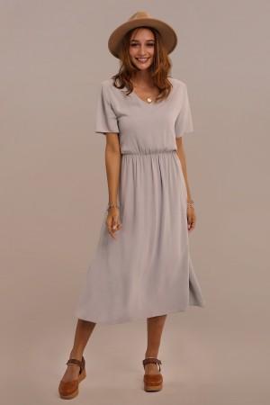 Short Sleeve V-neck Gathered Elastic Waist Rayon Maxi Dress