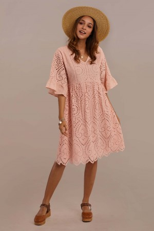 Blush 3/4 Length Bell Sleeve V-neck Gathered Waist Cotton Midi Mom Dress