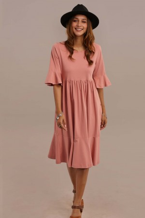 3/4 Length Bell Sleeve Round Neck Summer Midi Mom Dress With Pocket