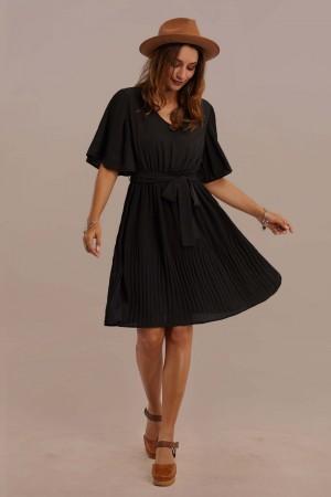 Black Half Bell Sleeve V-neck Tie Waist Pleated Midi Dress