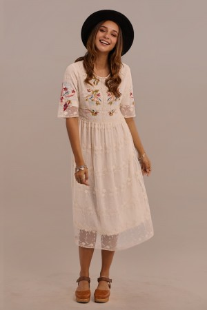 Half Sleeves Round Neck Knee Length Embroidered Dress