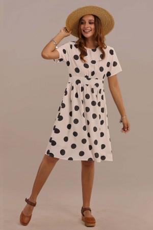 Short Slight Flare Sleeve Round Neck Summer Dot Midi Dress