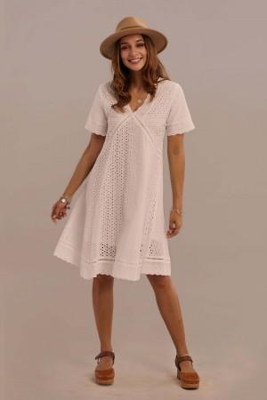 White Short Sleeve V-neck Natural Cotton Knee Length Lace Dress