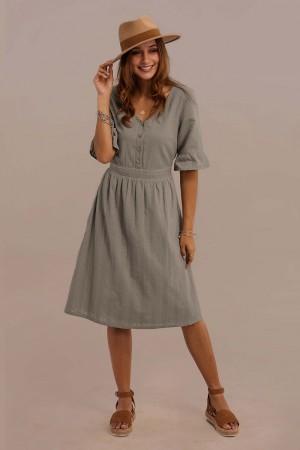 3/4 Length Ruffle Sleeve V-neck Elastic Waist Button Midi Dress