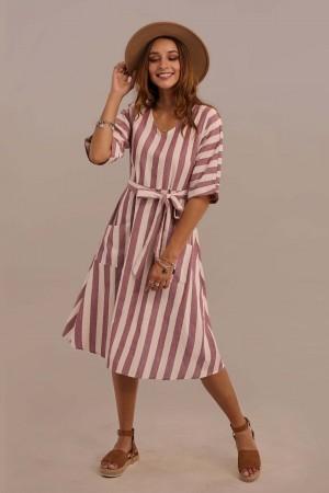 Half Sleeve V-neck Tie Waist Cotton Stripe Midi Dress