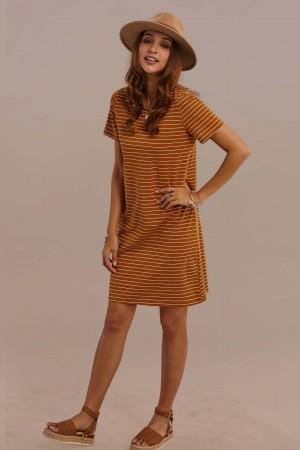 Short Sleeve Round Neck Nature Stripe Dress - Brown
