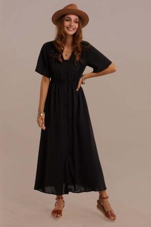 Black Half Sleeves V-neck Polyester Summer Maxi Dress