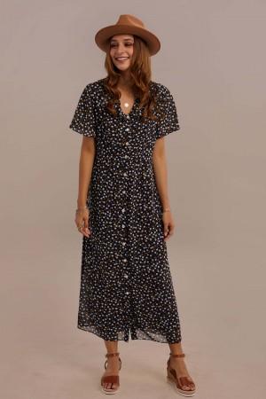 Navy Short Sleeve V-neck Natural Ruffle Maxi Dress