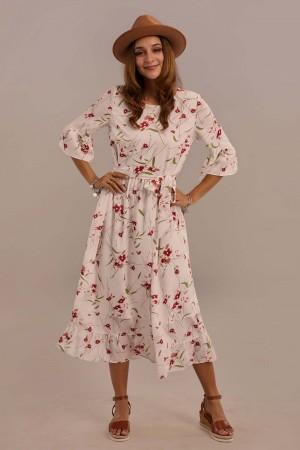 White 3/4 Length Bell Sleeve Round Neck Tie Waist Summer Floral Midi Dress