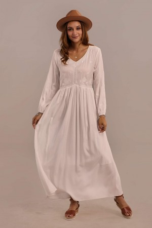 White Long Sleeve V-neck Elastic Waist Maxi Dress