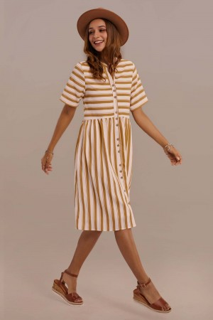 Short Sleeve V-neck Side Tie Waist Stripe Maxi Dress With Pocket