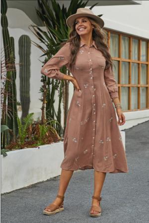 Salmon 3/4 Length Sleeve Collared Neckline Cotton Midi Dress with Pockets