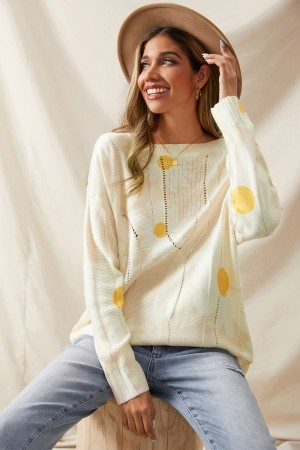 Apricot Loose Flower Personalized Pullover Slimming Sweater