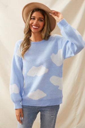 Blue Long Sleeves Round Necline White Cloud Sweet Urban Casual Sweater