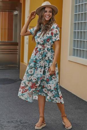 Teal Short Sleeves Round Neckline Polyester Maxi Dress with Belt Tie