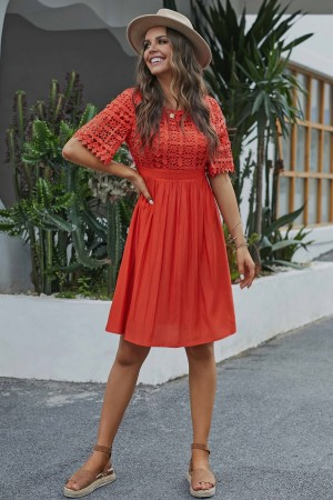 Orange Half Sleeves Round Neckline Lace Overlay Bodice Midi Dress