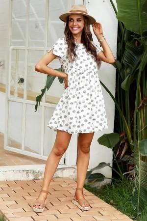 White Short Sleeves Round Neck High Waist Cotton Mini Dress