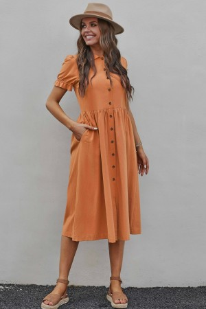 Salmon Short Sleeves Collared Neckline Cotton Midi Dress with Buttons