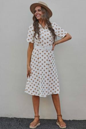 White Short Sleeve Collared Neckline Dot Viscose Midi Dress