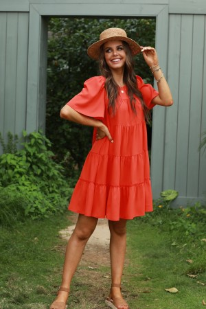 Red Short Sleeves Round Neckline Mini Dress