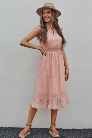 Pink Sleeveless Round Neckline Polyester Floral Midi Dress