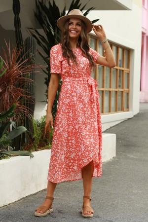 Orange-Red Short Sleeves Round Neckline Polyester Floral Maxi Dress