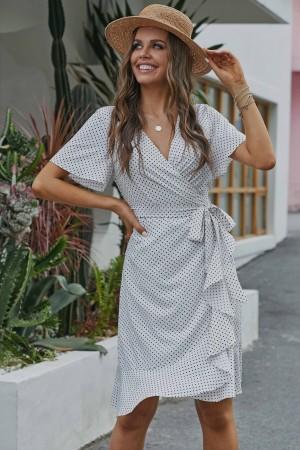 Ivory Short Sleeve V Neckline Polyster Midi Dress