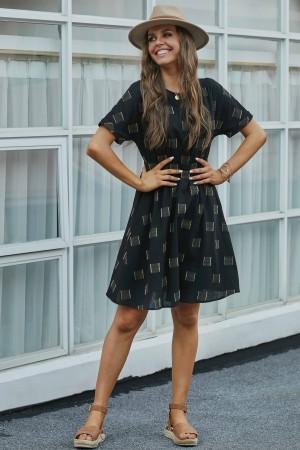 Black Short Sleeve Round Neckline Cotton Midi Dress with Pockets