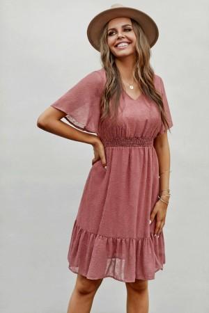 Salmon Short Sleeve V Neckline Embroidered Polyester Mini Dress