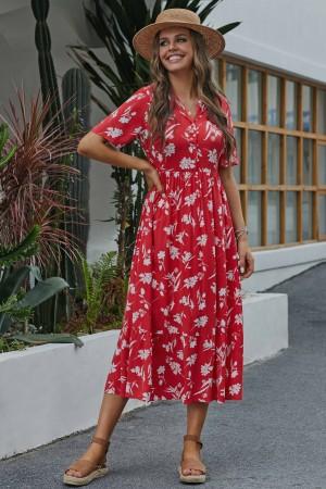 Red Short Sleeve Collar Neckline Rayon Floral Maxi Dress