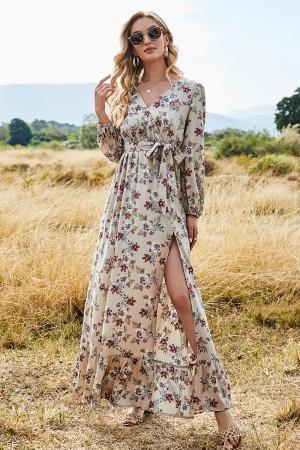 Floral Print Long Sleeves V-Neckline Adjustable Straps Polyester Split Maxi Dress