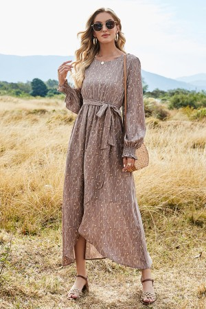 Long Sleeve Round Neck Elastic Waist Along With a Belt Tie Floral Maxi Dress