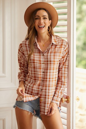 Casual Orange Plaid Long Sleeve Shirt With Buttons