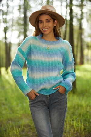 Pullover Long Sleeves Round Neck Gradient Sweater
