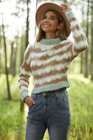 Striped Loose Short Cutout Knit Casual Pullover Sweater