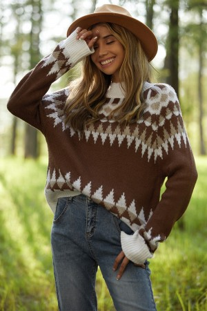Brown Loose Stand-Up Collar Pullover Cute Warm Sweater