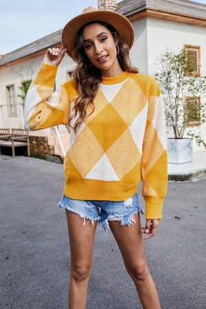Lazy Style Loose Plaid Long Sleeves High Neckline Soft Sweater
