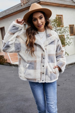 Winter Warm Up Plaid Fluffy Short Fur Coat With Pockets