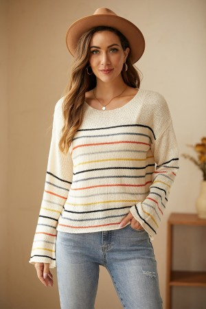 Colorful Striped Loose Long Sleeves Round Neckline Sweater