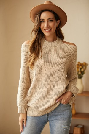 Commuter OL Loose Solid Color Slim Knit Sweater