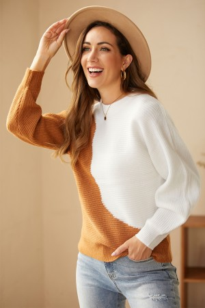 Contrast Color Long Sleeves Round Neck Knit Pullover Sweater