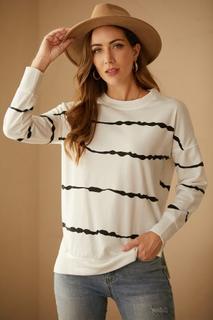 Striped Autumn New Style Round Neck Long-Sleeved Street Style Pullover Blouse